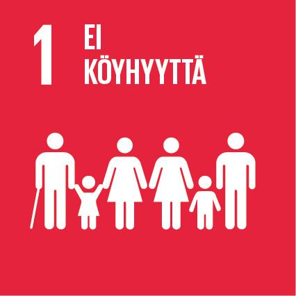 Kuusi ihmishahmoa punaisella taustalla. Hahmojen yläpuolella lukee 'Ei köyhyyttä' ja tekstin vieressä on numero yksi.