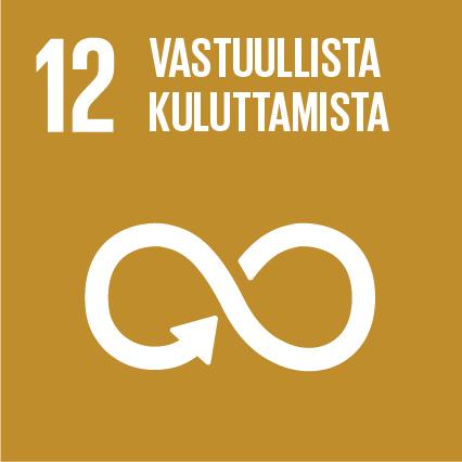 Äärettömyyden symboli, ylhäällä lukee 'Vastuullista kuluttamista' ja vieressä on numero kaksitoista.
