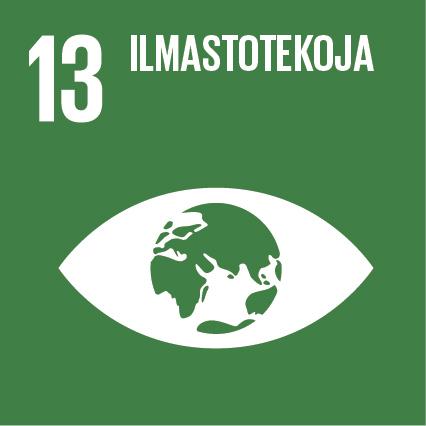 Silmä, jonka sisällä on maapallo, ylhäällä lukee 'Ilmastotekoja' ja vieressä on numero kolmetoista.