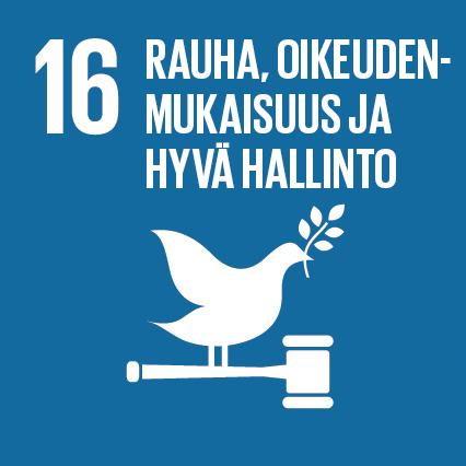 Rauhan kyyhky laki vasaran päällä. Ylhäällä lukee 'Rauha, oikeudenmukaisuus ja hyvä hallinto' ja vieressä on numero kuusitoista.