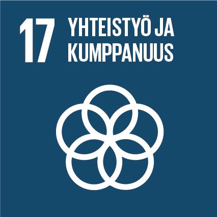 Viisi ympyrää, ylhäällä lukee 'Yhteistyö ja kumppanuus' ja vieressä on numero seitsemäntoista.
