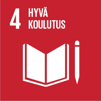 Kirja ja kynä, ylhäällä lukee 'Hyvä koulutus' ja vieressä on numero neljä.