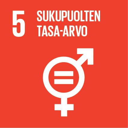 Tasa-arvon symboli, ylhäällä lukee 'Sukupuolten tasa-arvo' ja vieressä on numero viisi.