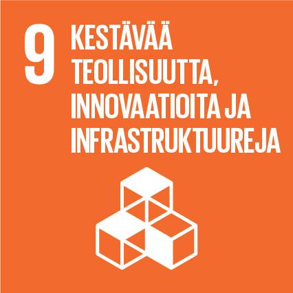 Kolme kuutiota, ylhäällä lukee 'Kestävää teollisuutta, innovaatioita ja infrastruktuureja' ja vieressä on numero yhdeksän.