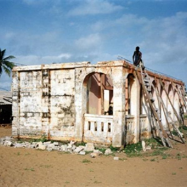 Petit Muséen rauniot. Palmupuu takana ja hiekkainen maa.