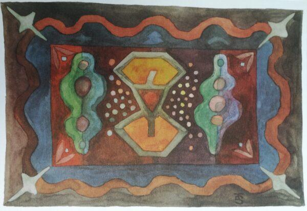 Kuvassa on abstrakti maalaus, jossa on eri kuvioita ja eri värejä.