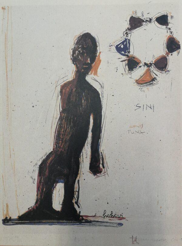"""Kuvassa on abstrakti kuvaus tummasta hahmosta. Tausta on valkoinen ja siihen on kirjoitettu joitain yksittäisiä sanoja tummalla. Näissä sanoissa lukee """"sini"""" ja """"punx""""."""