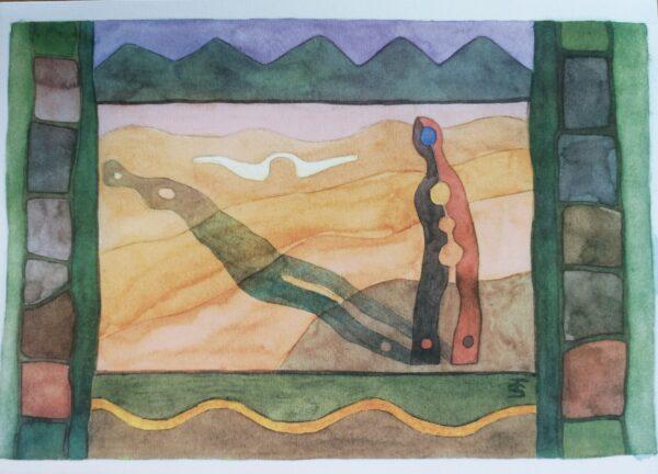 Kuvassa on abstrakti taideteos, jossa on käytetty väreinä vihreää, oranssia, punaista ja mustaa.